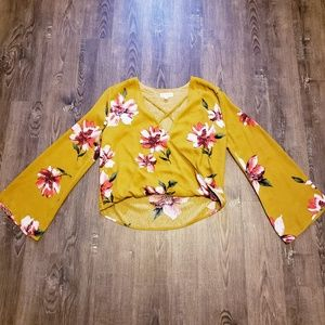 MUSTARD YELLOW FLORAL PRINT FLARE SLEEVE BLOUSE S